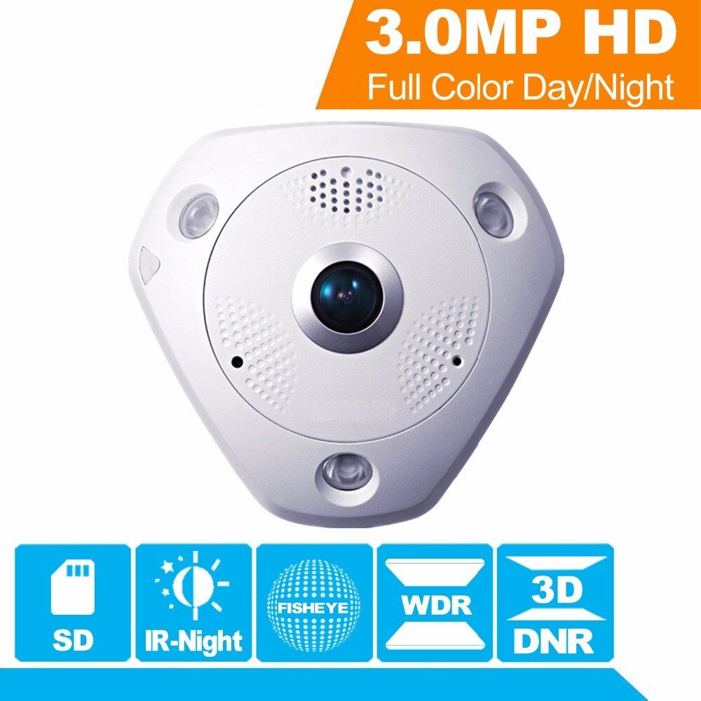 Hikvision 360 Degree View Angle Fish-eye CCTV IP Camera DS-2CD6332FWD-IV 3MP WDR Fisheye Security Camera Internal speaker & SD