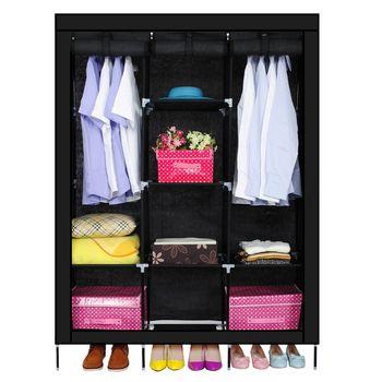 Nouveau Triple Non-tissés Armoire Accueil Chambre Décor Vêtements Vêtements De Stockage Wardrobesblack
