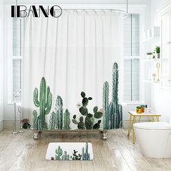 Ibano cactus tropical Cortina de ducha poliéster impermeable Telas Bañeras PARA EL Bañeras decorar con 12 unids plástico Ganchos