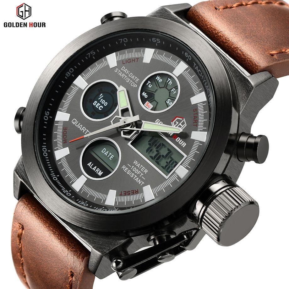Marca de Fábrica superior de Los Hombres de Lujo de Cuarzo Analógico Deportes Al Aire Libre Relojes Militares Relogio Masculino masculino Reloj Hour Con Correa de Cuero