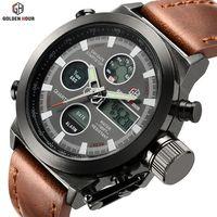 Relojes deportivos al aire libre analógicos de cuarzo para natación de lujo de marca superior reloj Masculino reloj militar Masculino hora con correa de cuero