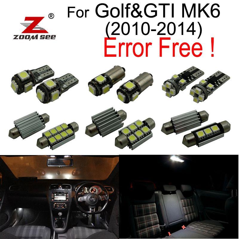 14 pièces plaque d'immatriculation LED Ampoule + Décodeur + Intérieur liseuses Kit pour Volkswagen VW GOLF 6 MK6 MK VI GTI (2010-2014)