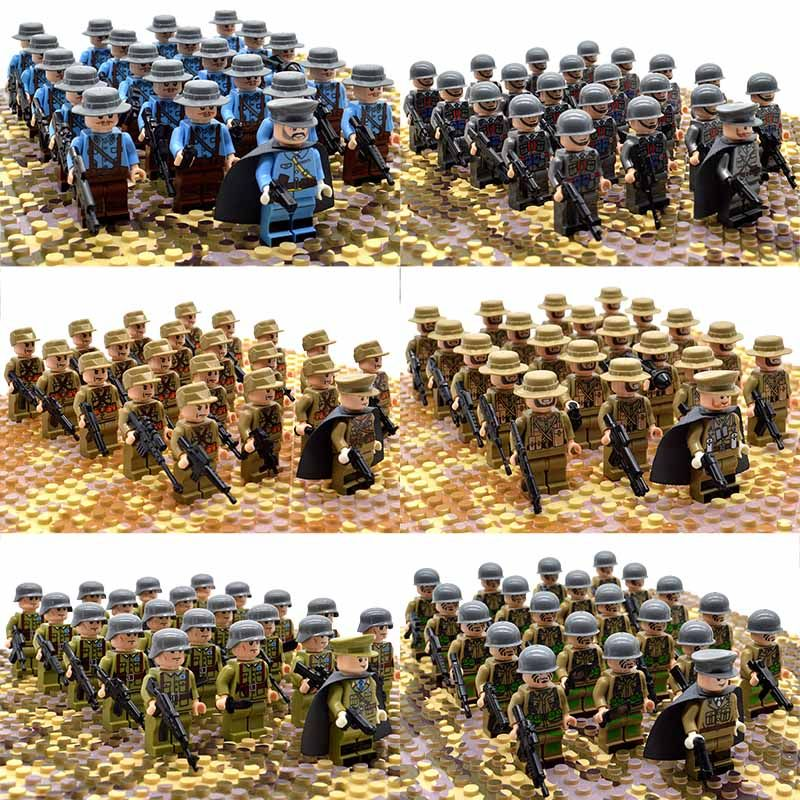 21PCs/set WW2 Army Military Building Blocks German France Italy Japan Britain China Small Soldier Officer Weapons Bricks Toys