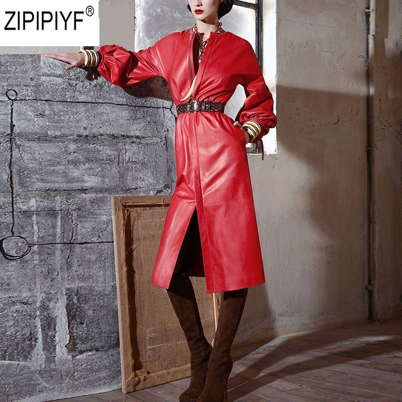 High Quality PU Leather Dress Women 2018 Autumn Long Sleeves Slim Casual Fashion Party Empire Mid-Calf Dresses Vestidos C1670