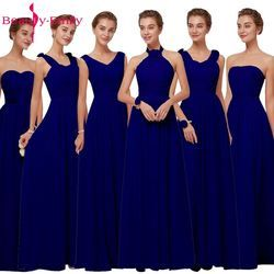 Royal Blue Chiffon Bridesmaid Dresses 2019 Long for Women Plus Size A-Line Sleeveless Wedding Party Prom Dresses Beauty Emily