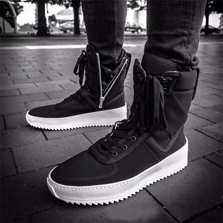 Chaussure Homme Superstar Runway High Top Sneakers Military Shoes Men Platform Ankle Boots Black Thick Bottom Rubber Flat Botas