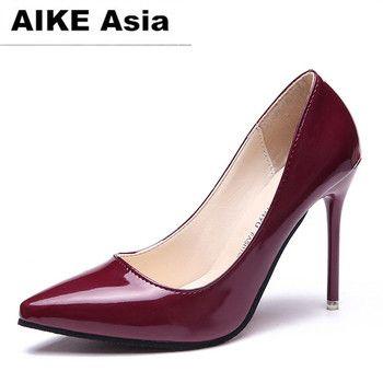 2018 CHAUDE Femmes Chaussures Bout Pointu Pompes En Cuir Verni Robe haute Talons Bateau Chaussures Chaussures De Mariage Zapatos Mujer Bleu vin rouge