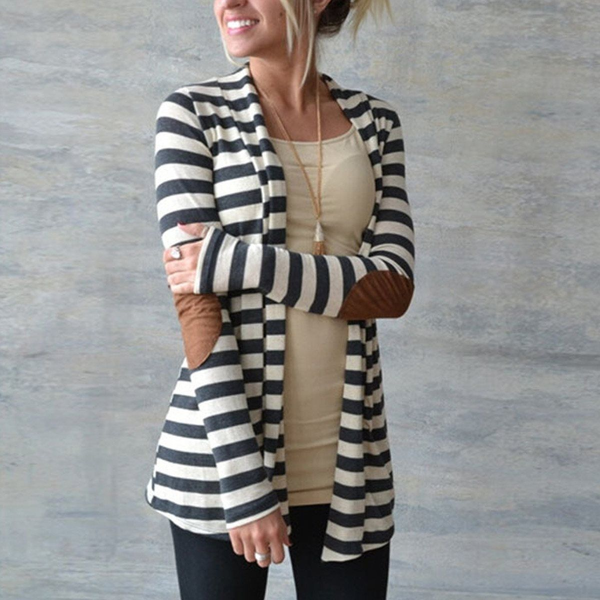 New Fashion 2018 Autumn Outerwear Women Long Sleeve Striped Printed Cardigan Casual Elbow Patchwork Knitted Sweater Plus Size
