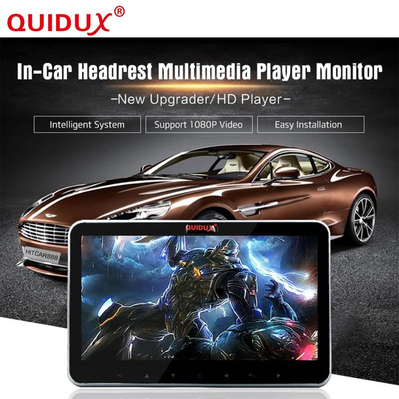 QUIDUX Car Headrest Monitor 10.2 inch Ultra-thin Back Hanging ,Car Entertainment system,USB,HDMI Audio/Video,TV Tuner,FM 1080P