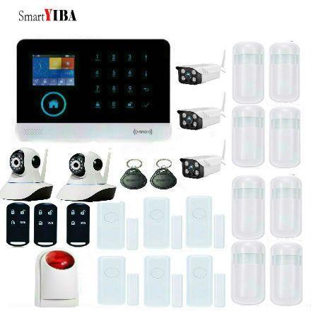 SmartYIBA IOS/Android APP WiFi GSM Alarmanlage Mit 3 stücke Wasserdichte Außenkameras + 2 stücke innen kameras + Strobe Sirene