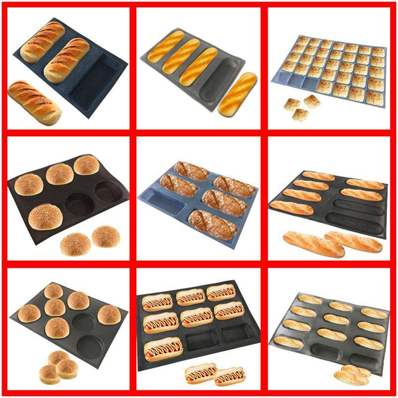 SHENHONG diverses formes moule à pain perforé moule en Fiber de verre de Silicone plateau à tarte antiadhésif pain Baguette cuisson poêle Perfored