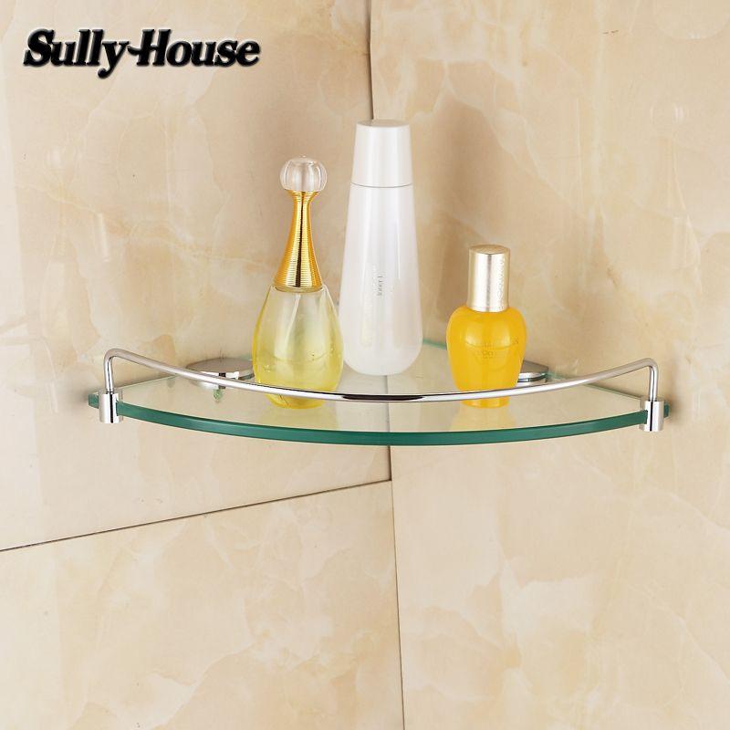 Sully maison salle de bains en acier inoxydable coin 8mm épaisseur en verre trempé étagère, salle de bains triangle étagères en verre, salle de douche Rack