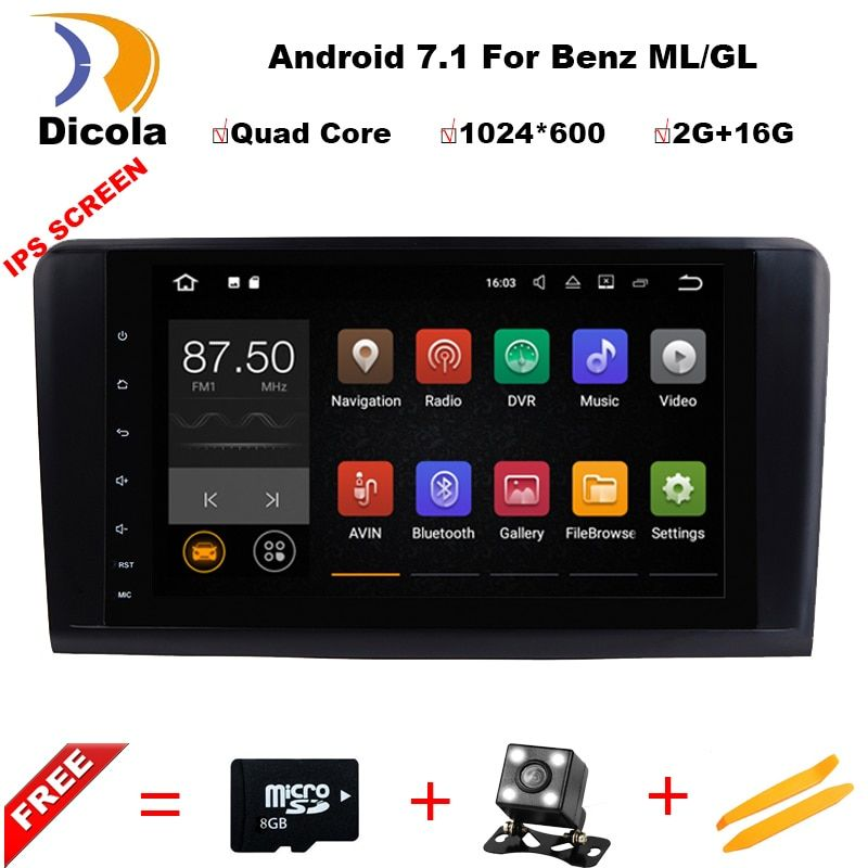 Android7.1.1! Two Din 9 Inch Car DVD Player For Mercedes/Benz/GL ML CLASS W164 X164 ML350 ML450 GL320 GL450 Wifi GPS BT Radio