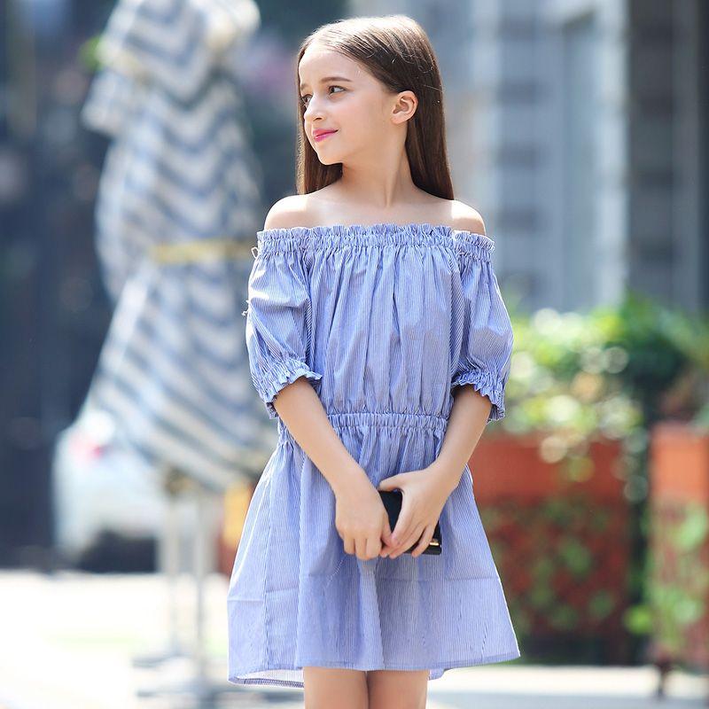 Подросток Обувь для девочек модное платье с открытыми плечами в полоску летние Детский костюм принцессы для вечеринки для девочек От 6 до 15 ...