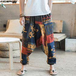 Baru Hip Hop Aladdin Hmong Longgar Kapas Linen Celana Harem Pria Wanita Ukuran Besar Lebar Kaki Celana Baru BoHo Kasual celana Cross Celana