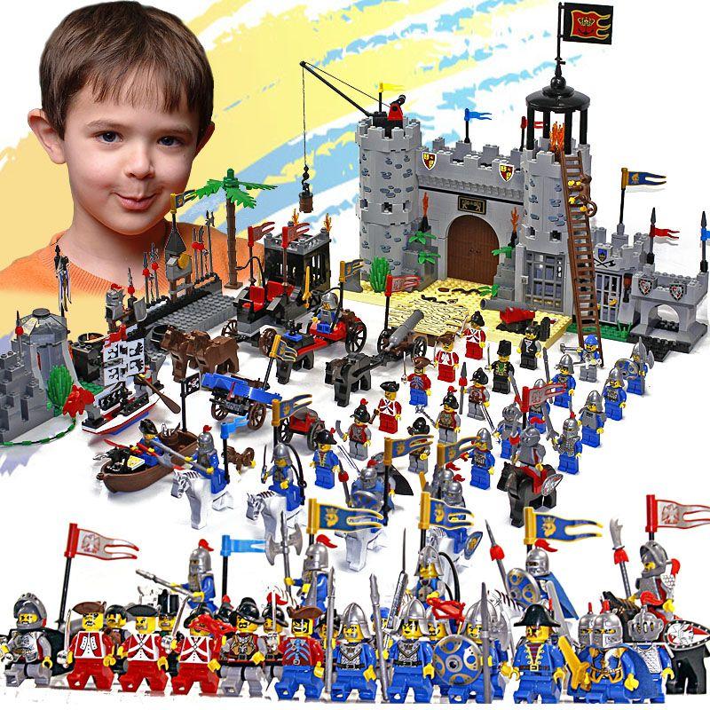 Éclairer château blocs de construction éducatifs jouets pour enfants enfants cadeaux 32 héros chevalier bateau flèche cheval arme pistolet