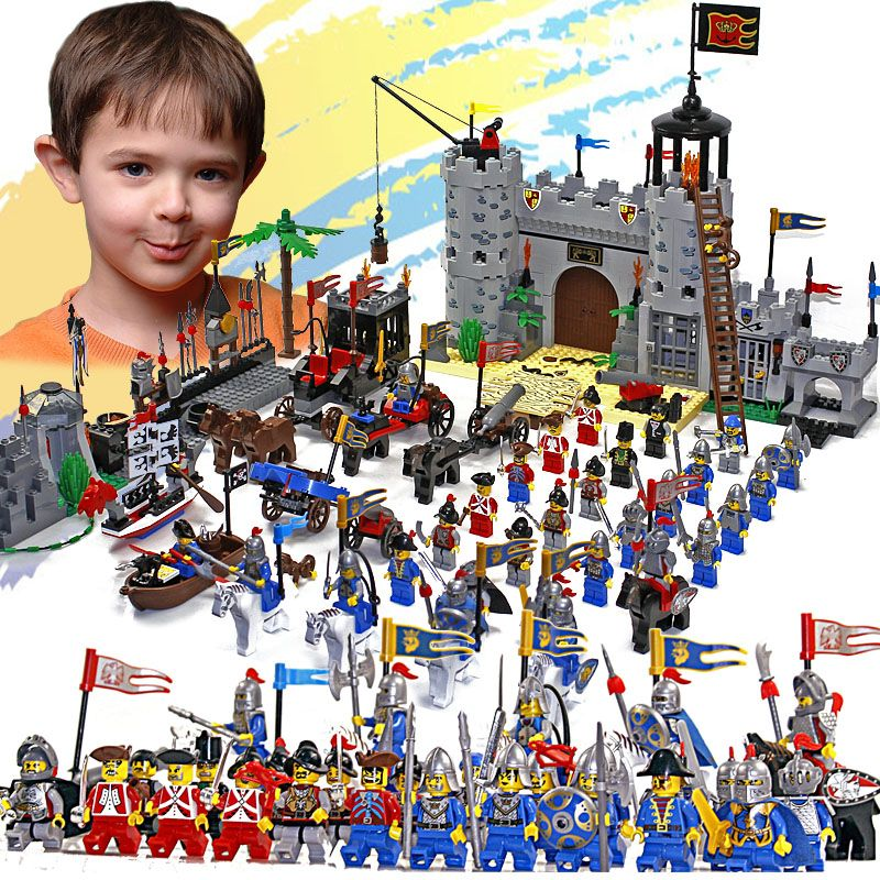 Enlighten Castle Educational Building Blocks Toys For Children Kids Gifts 32 Hero Knight Boat Arrow Horse Weapon Gun