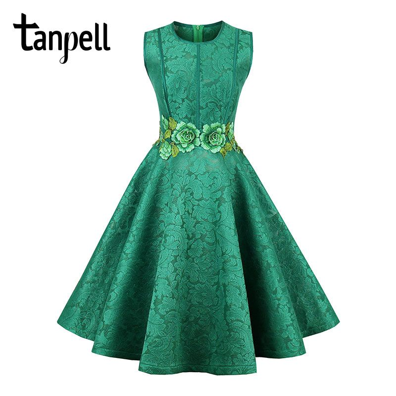 Tanpell short homecoming dress green o neck sleeveless knee length a line gown new floral embroidery cocktail homecoming dresses