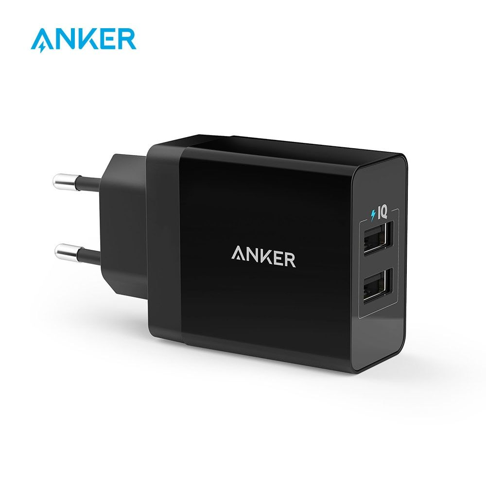 Chargeur mural USB 2 ports Anker 24 W (prise EU/UK) et technologie PowerIQ pour iPhone, iPad, Galaxy, Nexus, HTC, Motorola, LG etc.