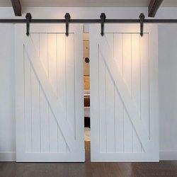 (Livraison gratuite) 5-16ft Noir Acier Rustique bois coulissante grange quincaillerie de porte Intérieur Américain coulissante grange porte kit