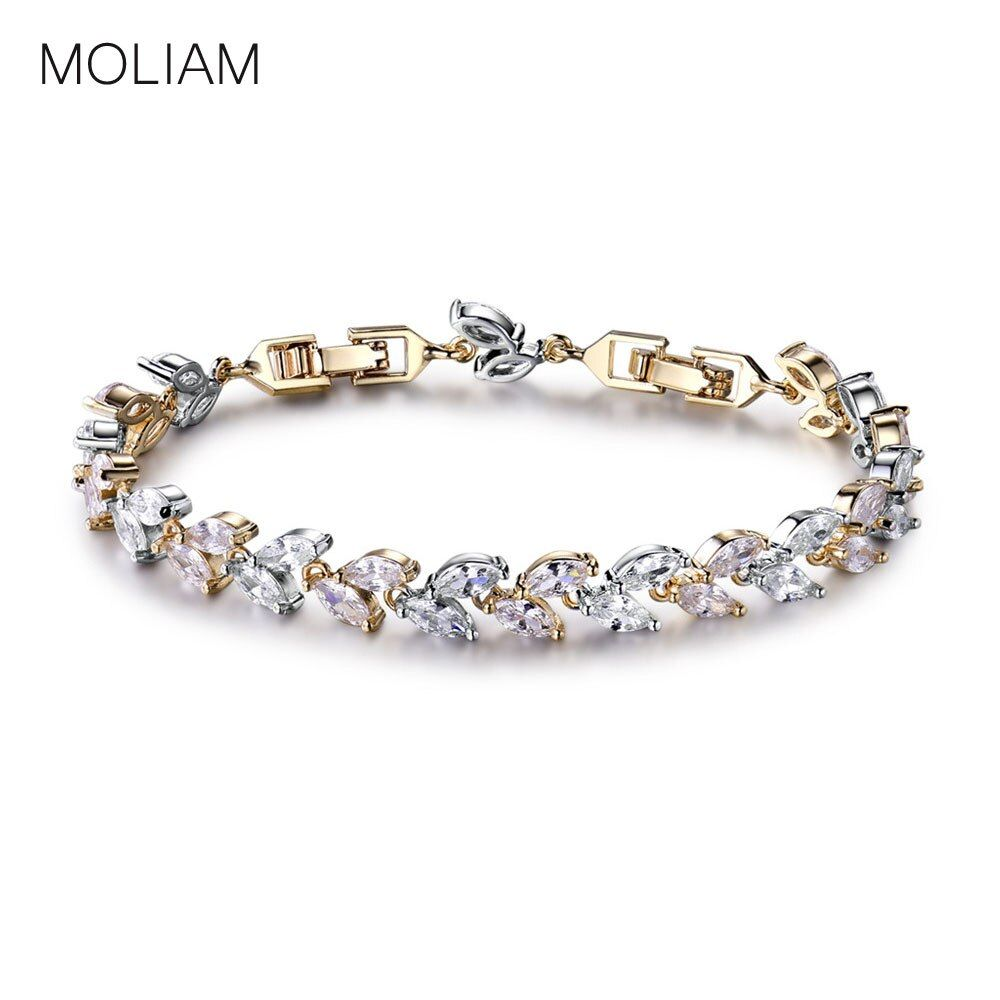 MOLIAM De Luxe Cristaux Autrichiens Blé Bracelet Élégant Cubique Zircone Chaîne de Main Bracelet Mode Bijoux MLL145