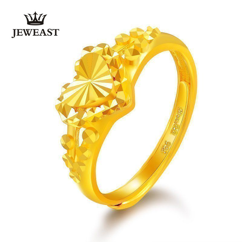 24K Pure Gold Ring Real AU 999 Solid Gold Rings Nice Shiny Heart Beautiful Upscale Trendy Classic Fine Jewelry Hot Sell New 2018