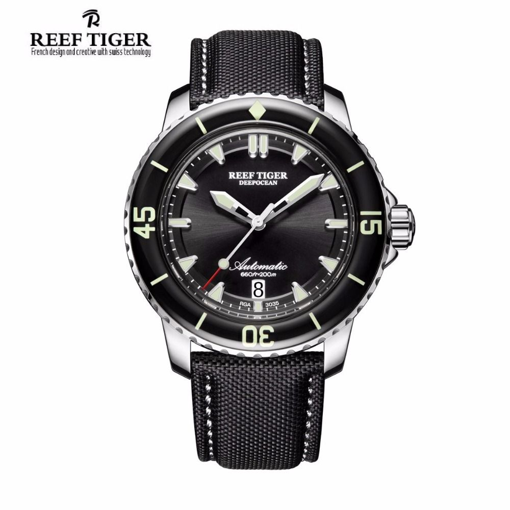 Reef Tiger/RT Sport Watches for Men Automatic Super Luminous Steel Dive Watch with Date RGA3035