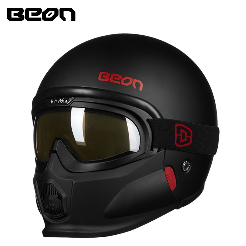 New Beon vintage motorcycle helmet with detachable & removable mask full face retro scooter moto helmets personalized helmets