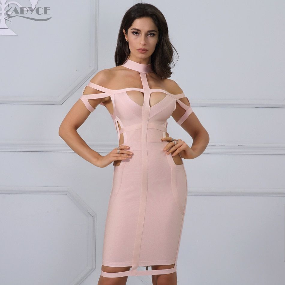 Adyce New Women Bandage Dress Celebrity Evening Party Dress 2018 Royal blue Apricot Hollow Out Bodycon Dresses Vestidos