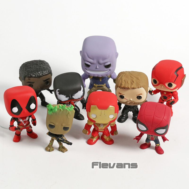 Marvel DC Deadpool Black Panther Spiderman Thor Treen Man Thanos Venom Iron Man Flash PVC Figures Toys 9pcs/set