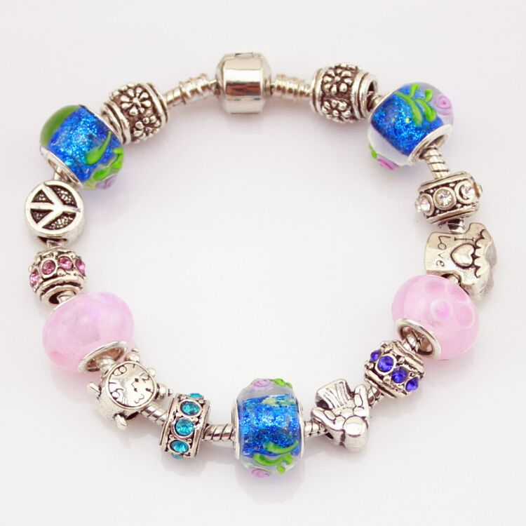 MPB Lorena Jewelry Natural Stone Murano Glass Charms Bracelets & Bangles Butterfly Beads