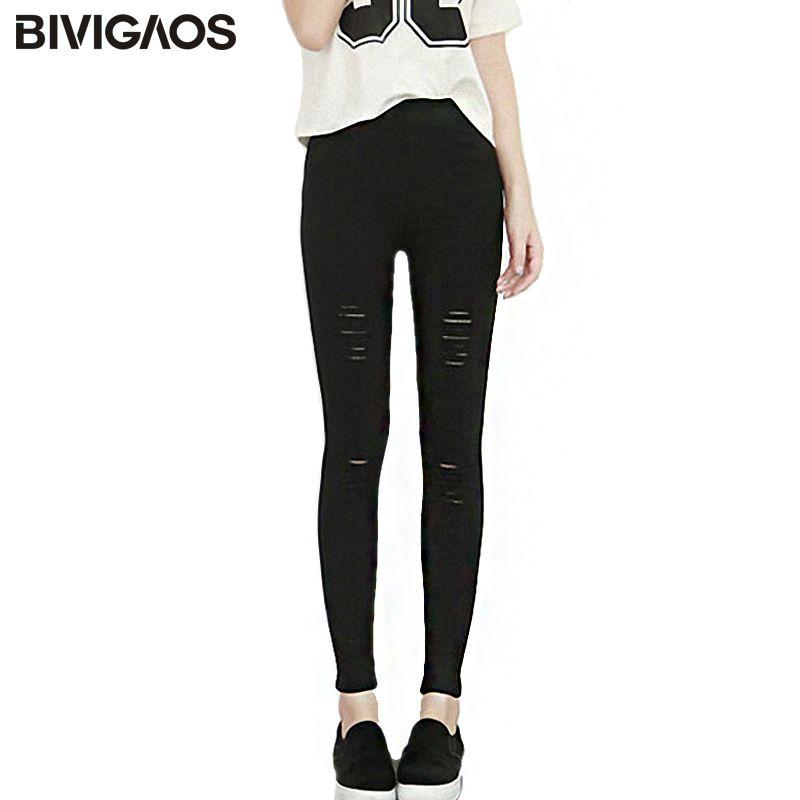 2018 printemps été femmes déchiré Leggings porté coton lavé tissé noir trou Jeans Leggings pantalon mince crayon pantalon pour les femmes