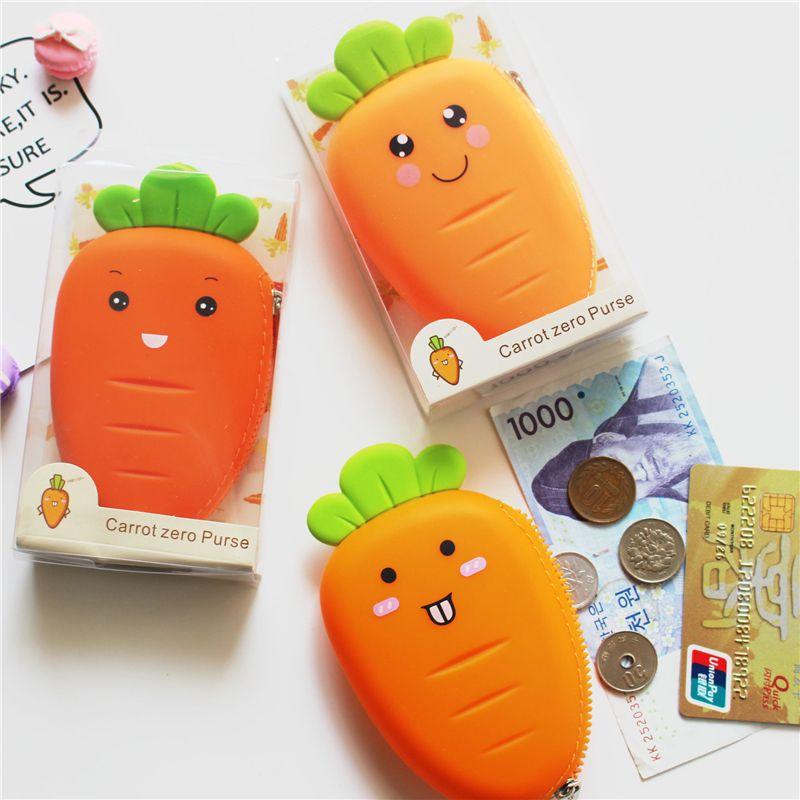 PACGOTH Cartoon Druck Silikagel Geldbörse Kreative Gemüse Karotten Form Münze Geldtasche Muster Zufällig Ausdruck 1 STÜCK