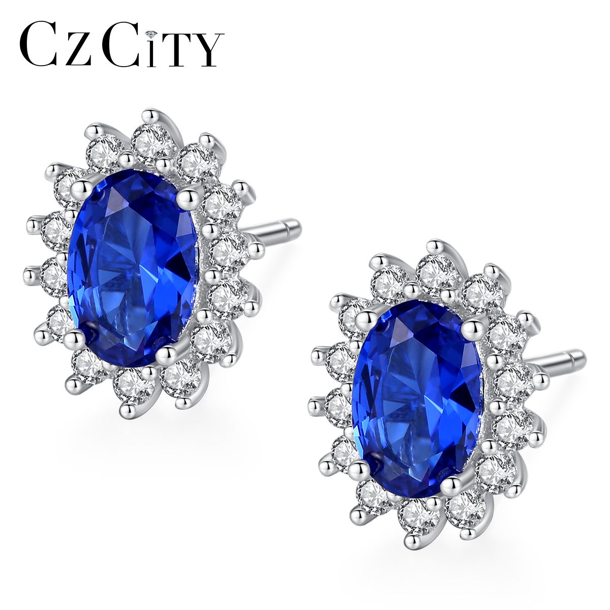 CZCITY nouveau naturel pierre de naissance bleu Royal ovale topaze boucles d'oreilles avec solide 925 en argent Sterling bijoux fins pour les femmes Brincos