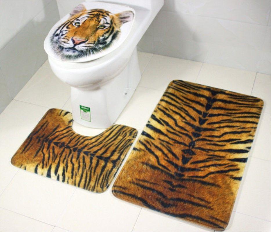 3 pièces/ensemble tigre motif léopard tapis de bain anti-silp flanelle Contour tapis couvercle couverture de toilette tapis salle de bain ensemble