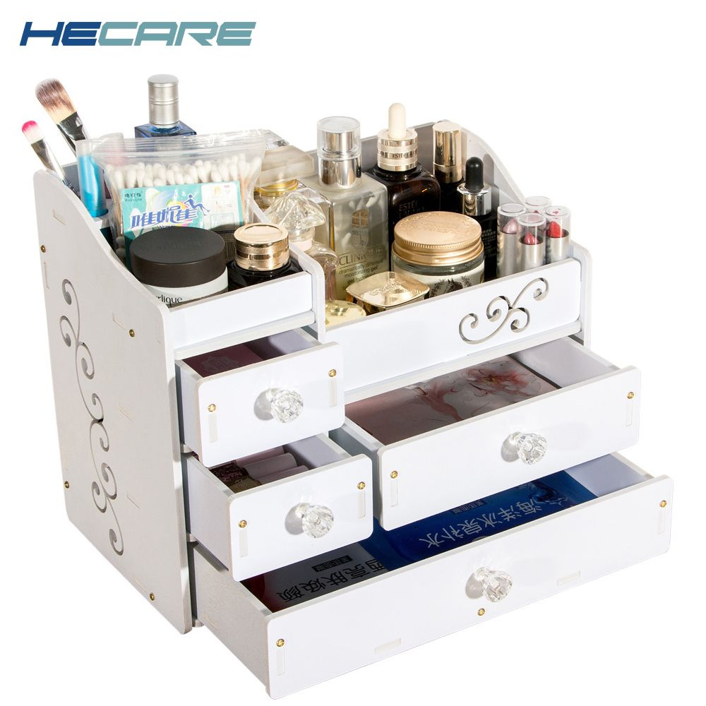 HECARE Plastic <font><b>Make</b></font> Up Organizer Jewelry Container DIY Waterproof Storage Box Cosmetic Container Jewelry Case Storage Organizer