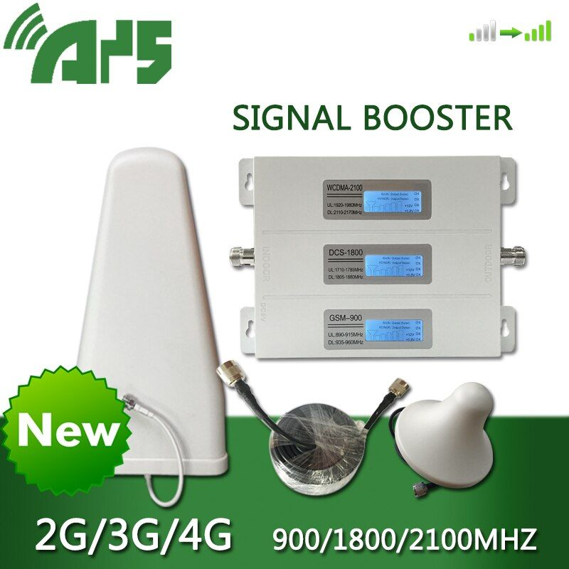 AYS 4g dcs 3g wcdma 2g gsm repeater Handy Booster Verstärker Antenne Kit Handy Signal 900 1800 2100 legierung LCD Display