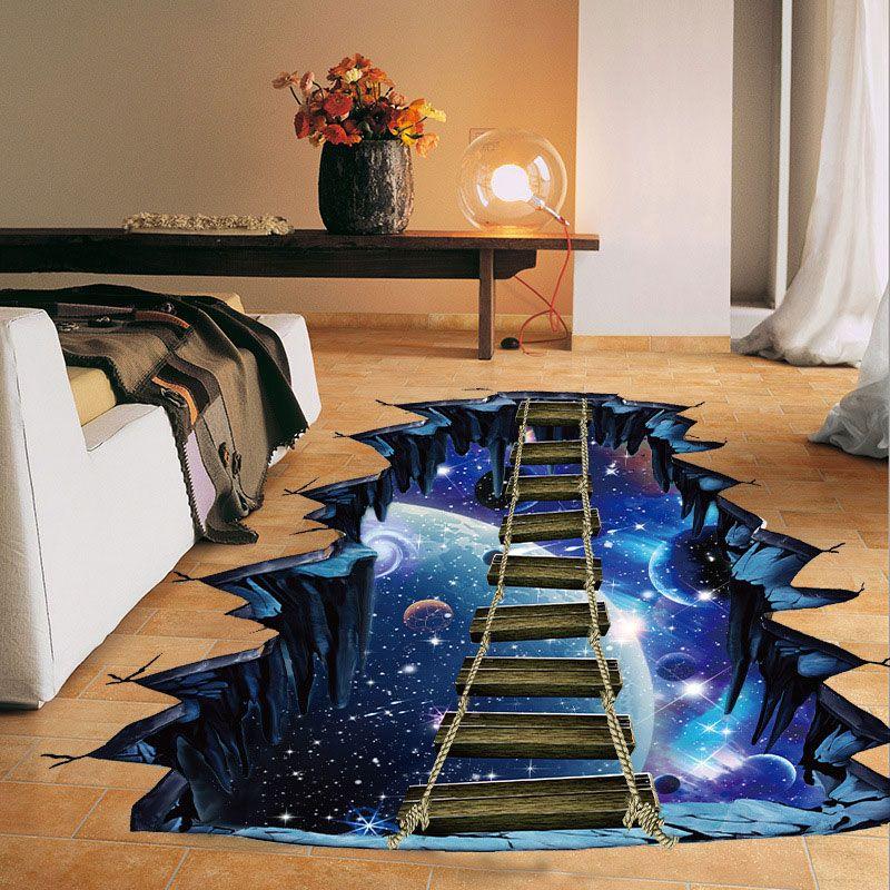 Nouveau grand 3d cosmique espace autocollant mural galaxie étoile pont décoration de la maison pour enfants chambre étage salon stickers muraux décor à la maison