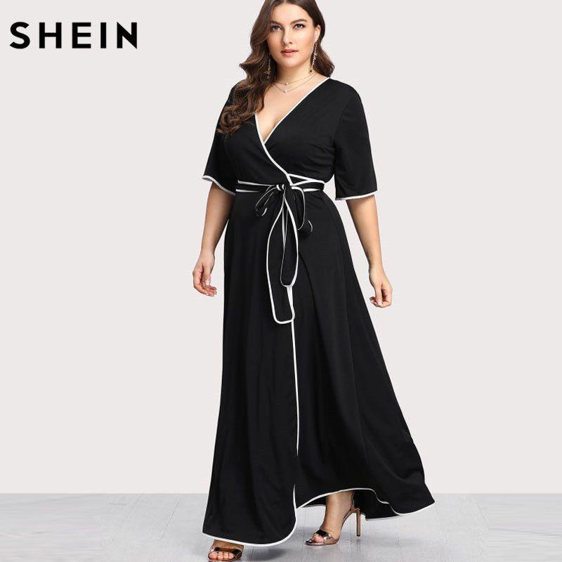SHEIN Plus Size Black Party Dress Summer Maxi Dresses Elegant Large Sizes V-neck Contrast Binding Self Belted Wrap Dress