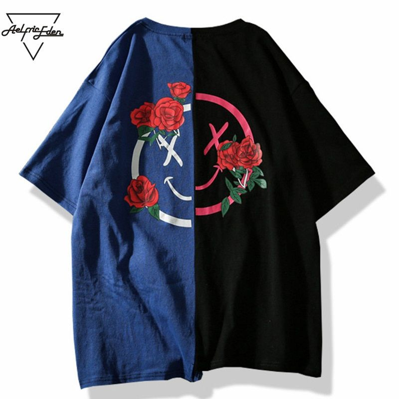 Aelfric Eden T-shirt Men Flower Printed T Shirts Hit Color Patchwork 2018 Summer Short Sleeve <font><b>Lover</b></font> Fashion Hip Hop Tshirts LQ12