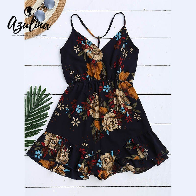 AZULINA Sexy Floral Print Bohemian Women Jumpsuit Romper Spaghetti Strap Hollow Out Backless Playsuits Summer Beach Overalls