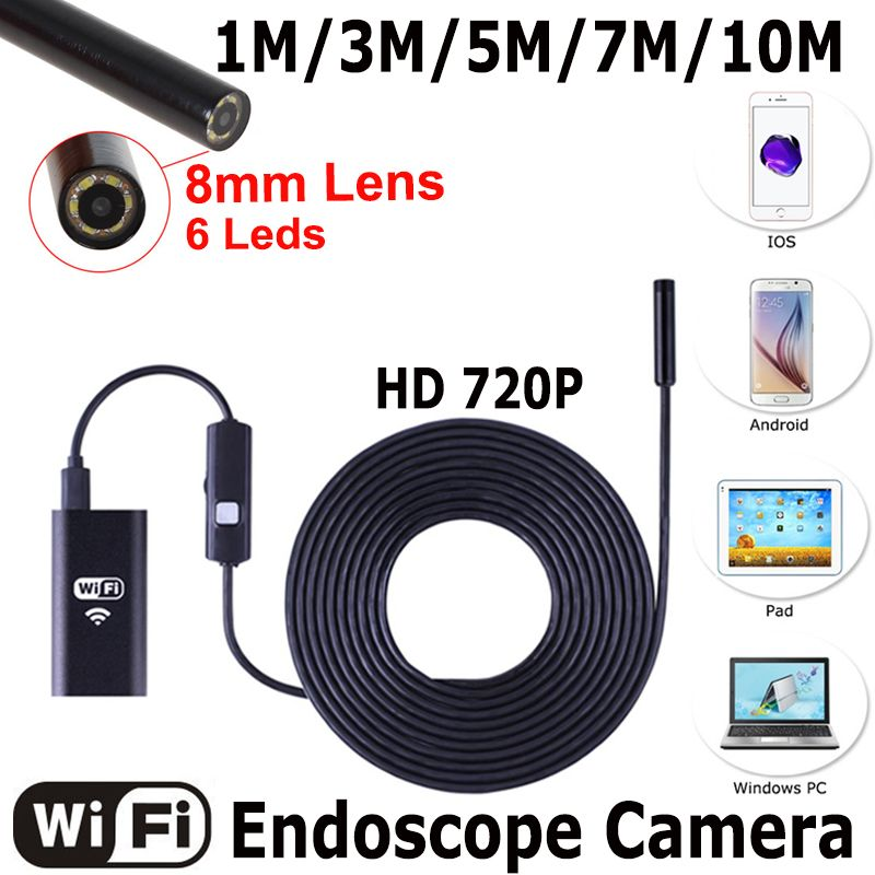 USB Endoscope With WIFI Box HD 720P Inspection Snake camera 6LED 8mm Lens 2MP 1/3/5/7/10M For Android iPhone Wireless Endoscope