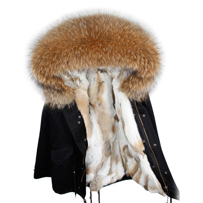 2018 New Brand woman winter coat large raccoon fur collar hooded parkas outwear detachable rabbit fur lining winter jacket