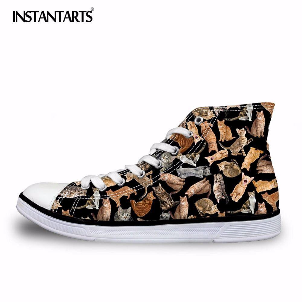 INSTANTARTS classique hommes femmes haut haut vulcaniser chaussures mode Animal chat chien Puzzle impression toile chaussure laçage baskets chaussures garçons