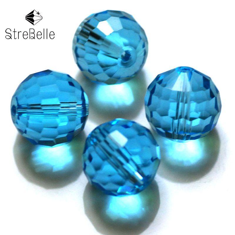 8mm globulaire 128 faces facettées perles de cristal de verre créer votre Style 30 couleurs en Srock première Session 2017 nouvelle tendance arrivée