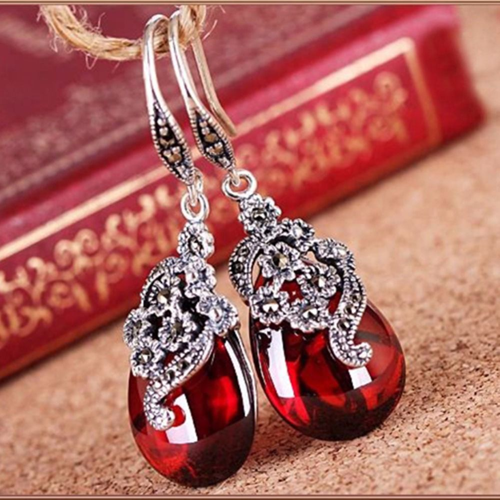 Ms.Betti 2018 Vintage Marcasite earrings nature stone 925 Thai silver jewelry for women must have brides jewelry gifts Bijoux