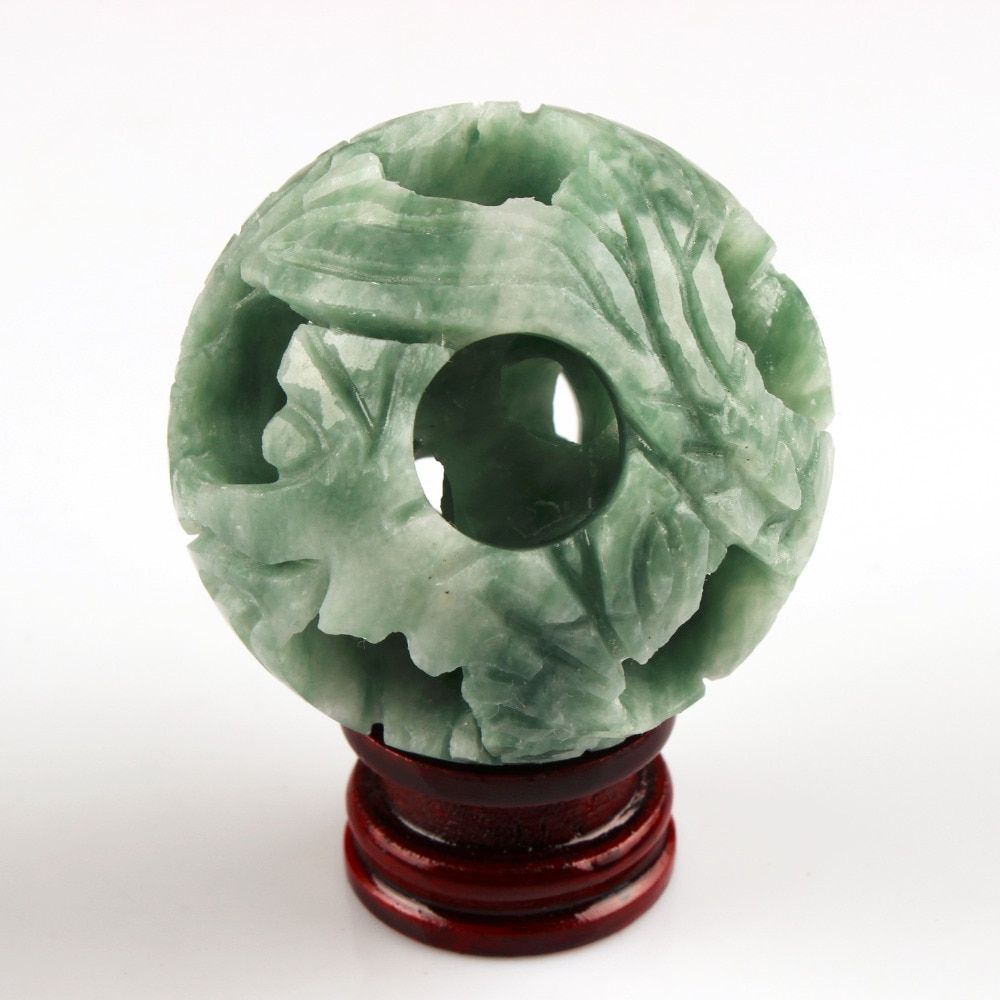 2.2 pouces boules de tache verte comprennent boule sculpture sphère bois stand Chakra guérison Reiki pierre naturelle sculptée