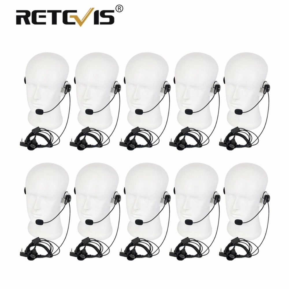 10pcs High Quality Walkie Talkie Headset Finger PTT Soft Microphone Earpiece For Kenwood For Baofeng UV5R 888S Retevis RT5 RT21