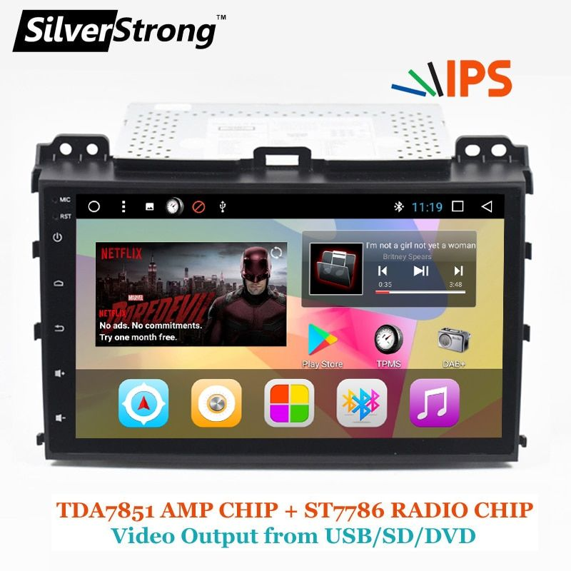 SilverStrong 2Din IPS Android7.1 GPS Car Radio For TOYOTA Prado 120 For LEXUS GX470 Car GPS Land Cruiser Prado 120 IPS