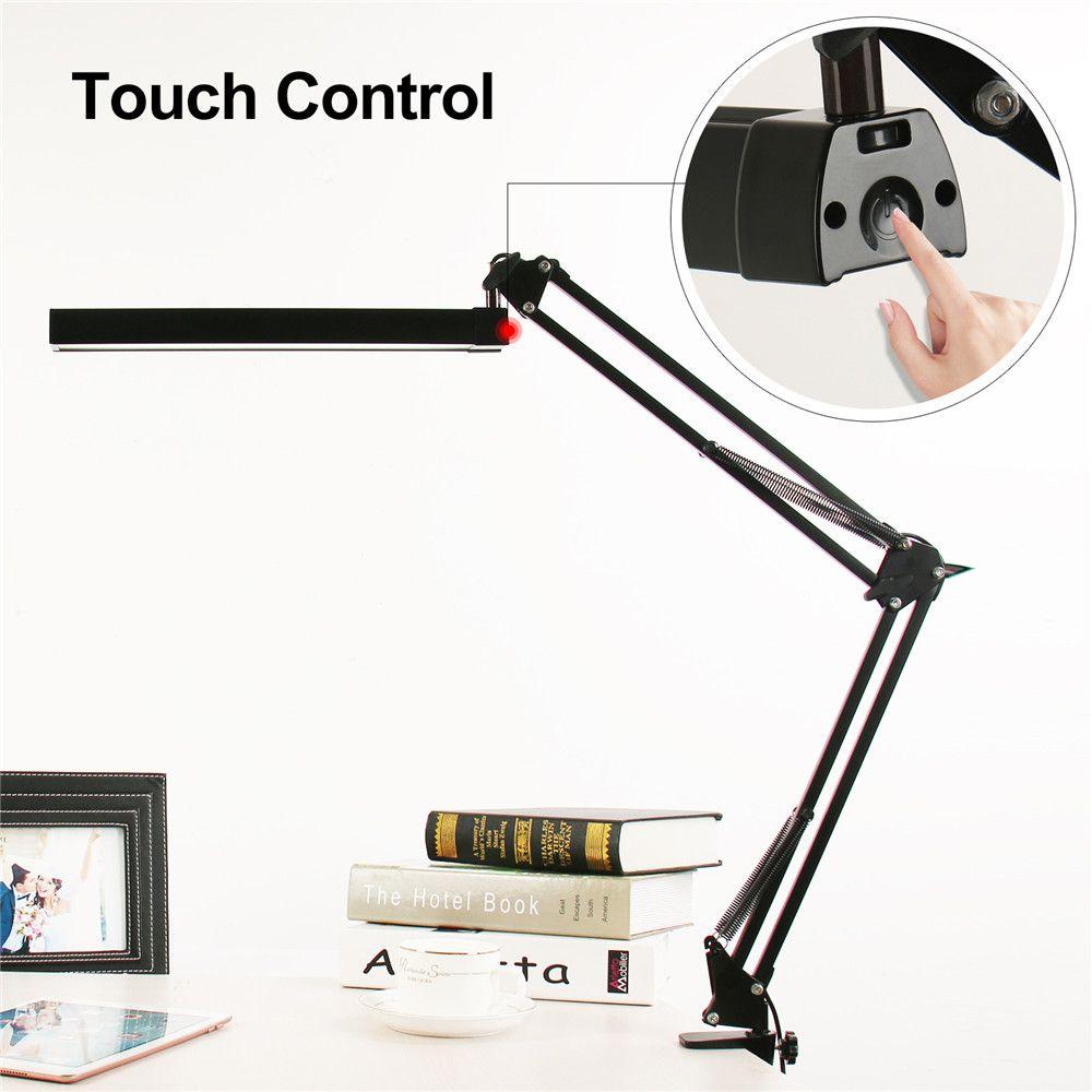 A16s 7 Вт металла светодиодный настольная лампа swing arm затемнения гибкий кронштейн лампы Зажим для чтения офис 3 Яркость 2 цвет Режимы свет стол